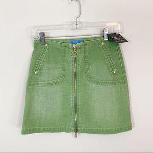 Escada Sport • Green Denim Front Zip Mini Skirt